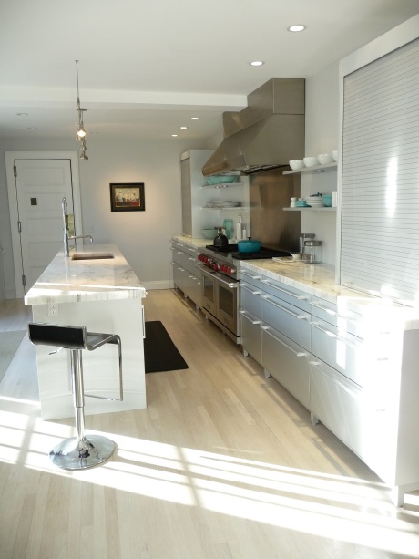 Poggenpohl Brushed Aluminum Work Area with Marble Counter Top