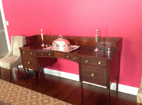 George III Mahogany sideboard stands out against the fresh, new color!
