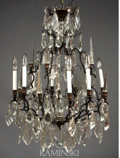 French Style Iron and Crystal Chandelier