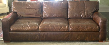 Brown leather 3 seater sofa $1300