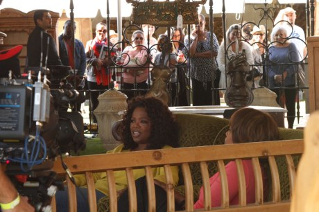 One of the many interviews Oprah did at the event.