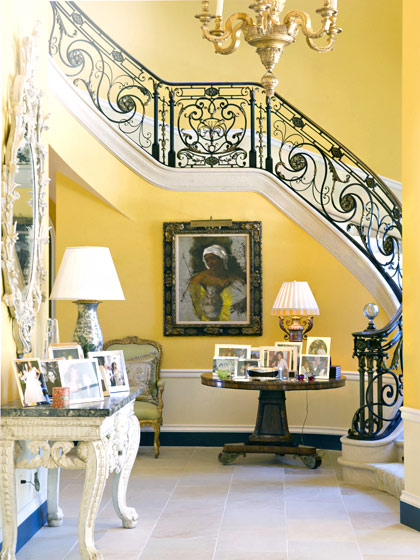 The grand staircase in the Montecito foyer.