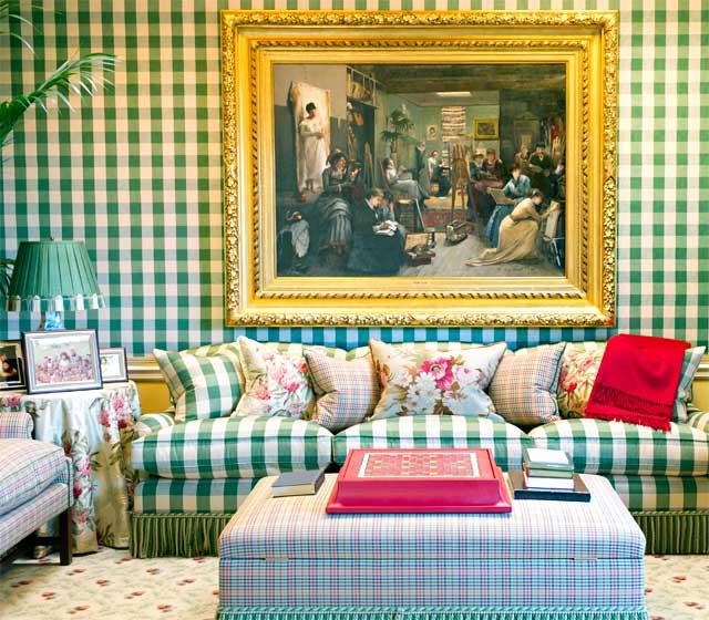 The famous green plaid sofa !