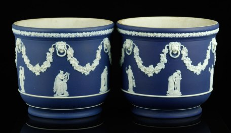 Lot# 7256- WEDGWOOD JASPERWARE FLOWER POTS