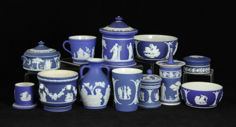 Lot# 7305 Lot of twelve blue and white Wedgwood Jasperware items