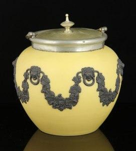 Lot # 7332 Yellow Wedgwood Jasperware biscuit jar