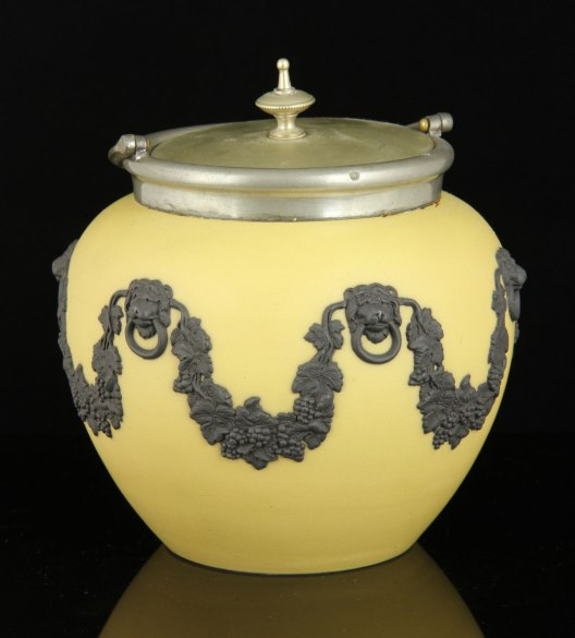 Lot # 7332 Yellow Wedgwood Jasperware biscuit jar