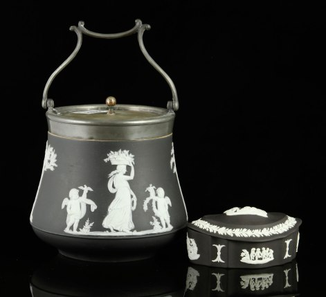 Lot #7349 Two pieces of black and white Wedgwood Jasperware, including a covered pot and a covered dish