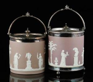 Lot#7362 Pair of Wedgwood Jasperware covered biscuit jars in lilac