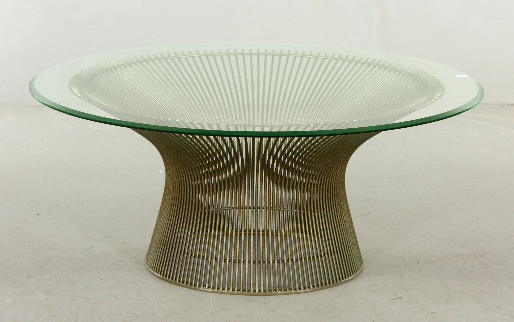 Warren Platner For Knoll Coffee Table, Steel Base With Original Bumper With  Beveled Edge Glass