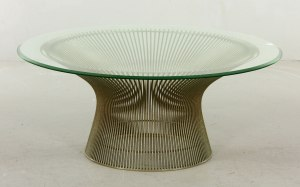 Warren Platner for Knoll coffee table, steel base with original bumper with beveled edge glass top