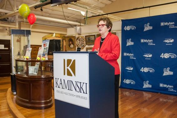 Tennis legend Billie Jean King at the podium