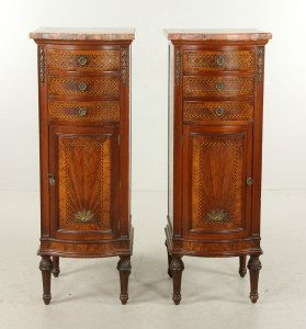 French Empire style side tables with marble tops