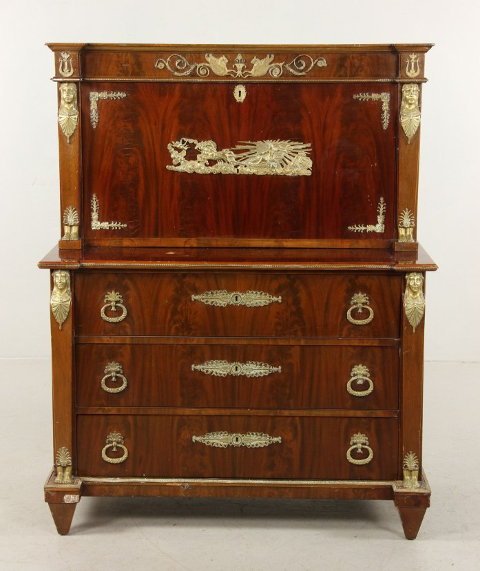 19th century French Empire desk and chest, mahogany