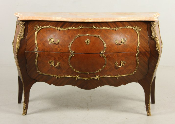 French Bombe Chest with marble top and ormolu mounts